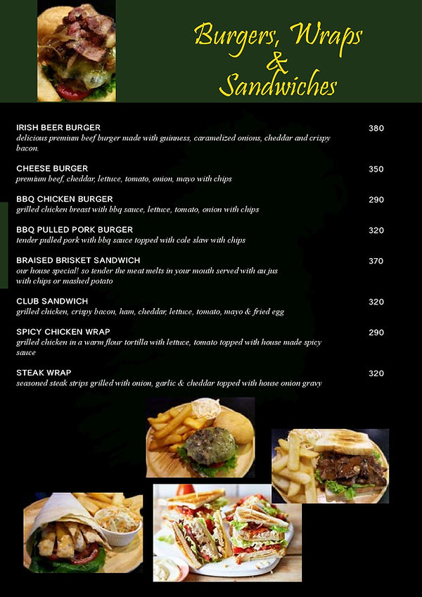 O'Malley's Bangkok Food Menu