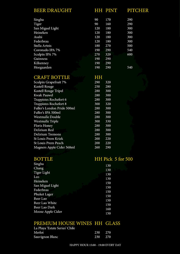 O'Malley's Bangkok Drinks Menu