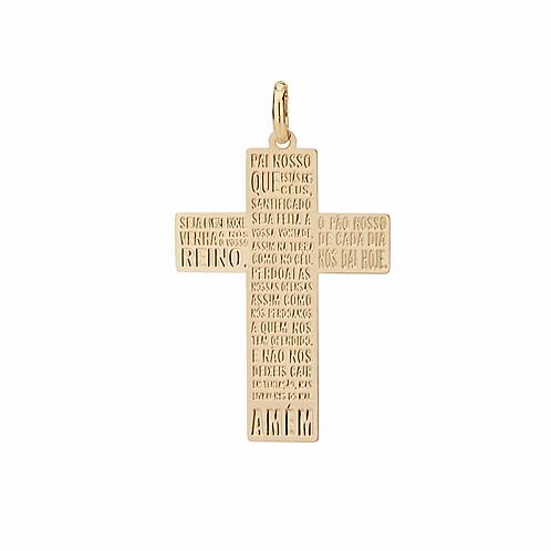 Pingente folheado a ouro no formato de cruz com escrita pai nosso - tam.único 54