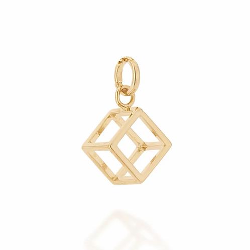 Pingente folheado a ouro no formato de cubo - tam.único 5421700000