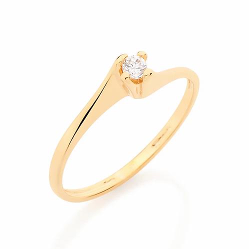 Anel solitário folheado a ouro com zircônia 5105161606