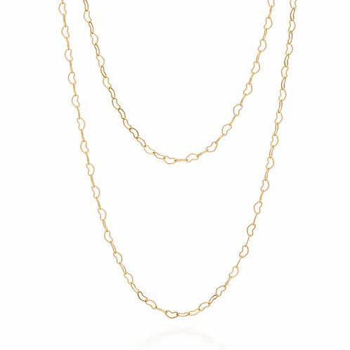 Gargantilha dupla folheada a ouro formada por corações - tam.45 5311314500