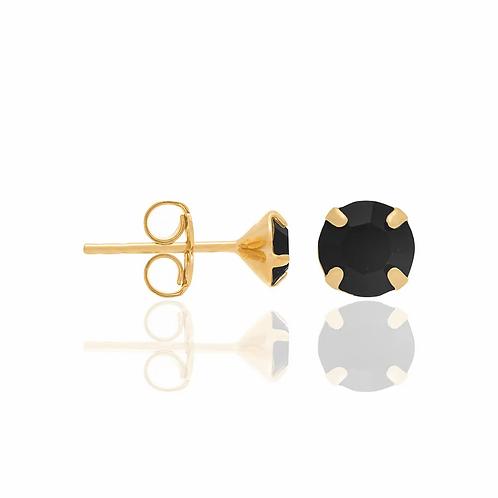 Brinco solitário folheado a ouro com cristais - tam.único 5250290027