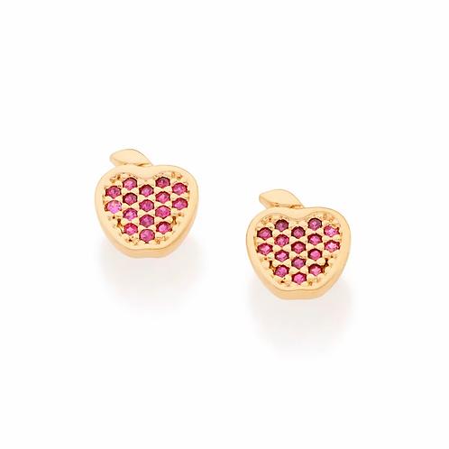 Brinco folheado a ouro maçã com zircônias - tam.único 5261640037