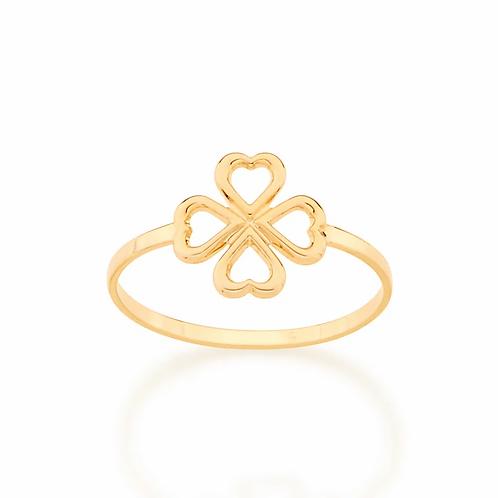 Anel skinny ring trevo de 4 folhas folheado a ouro 5128751200