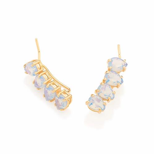 Brinco ear cuff folheado a ouro com cristais - tam.único 5262070003