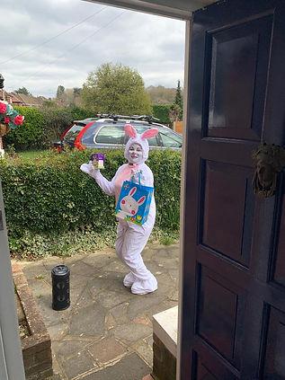Easter Bunny Doorstop visit