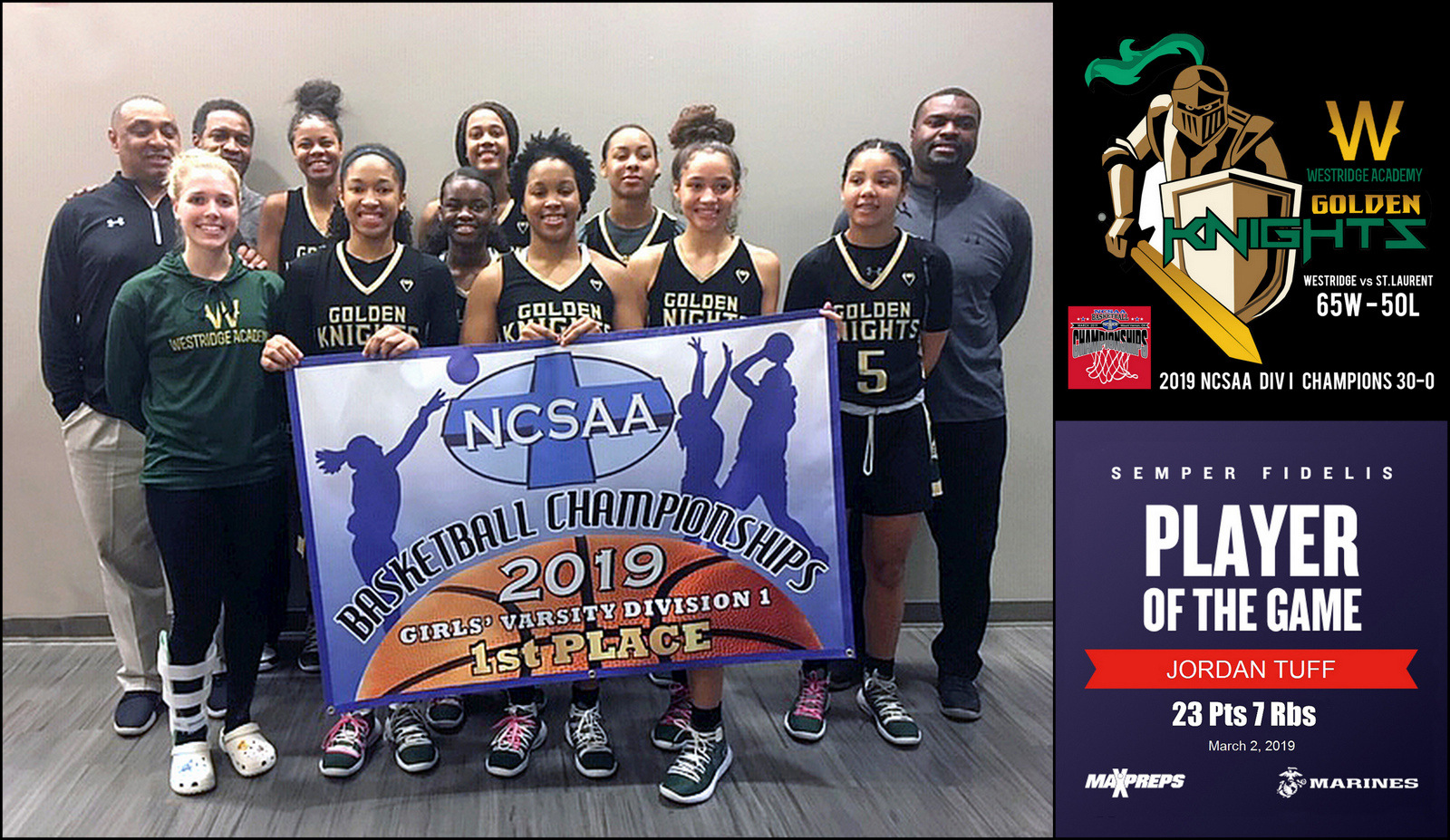 NCSAA Basketball Champions (30-0)