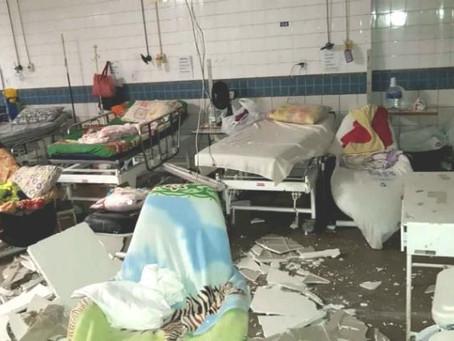Teto desaba no Hospital da Restauração por causa da chuva