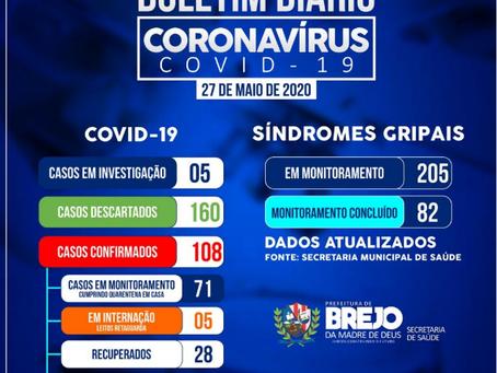 Brejo da Madre de Deus contabiliza 108 casos do coronavírus
