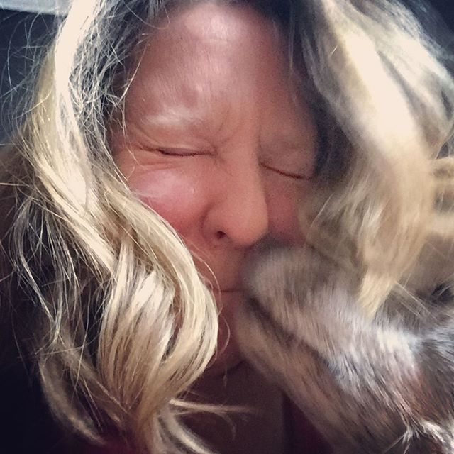 Kisses from my fur baby when all my peop