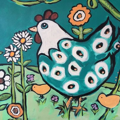Detail of Chicken/ Blooms in Florence Blue Gardens.