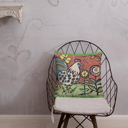 Rooster on Scandinavian Pink Sky Pillow