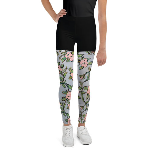 Pink Roses/ Faux-Shorts Youth Leggings