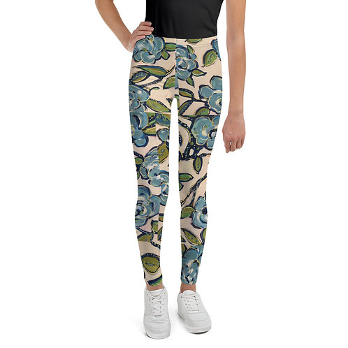 Blue Roses Youth Leggings