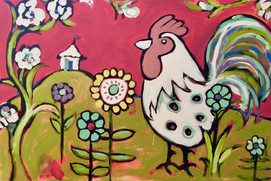 Rooster in a Right as Red World