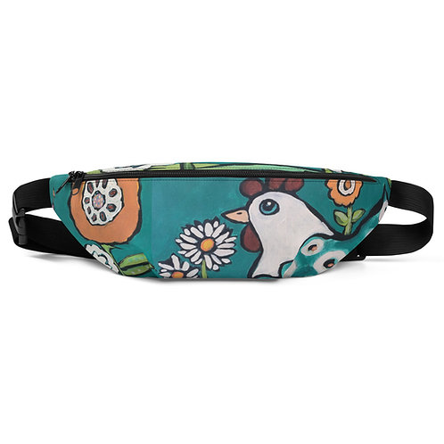 Chicken and Blooms in Florence Blue Fanny Pack