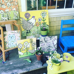 Paintings on the studio porch