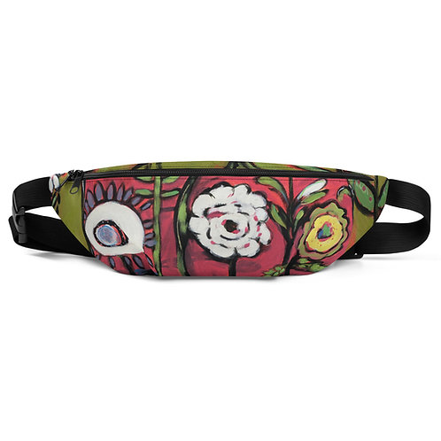 White Flowers in a Red Hot World Fanny Pack