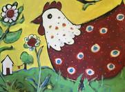 English Yellow Garden with Mama Bird