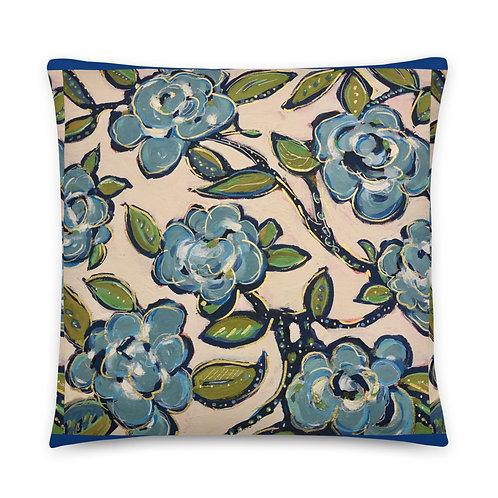 Blue Roses Sateen Finish Large PillowAll-Over Print Basic Pillow