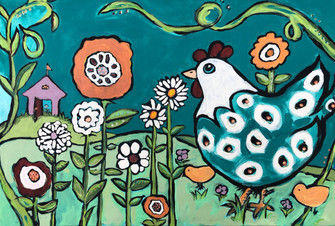 Chicken and Blooms in Florence Blue Gard