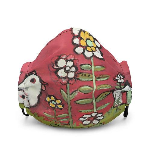 White Bird in a Red Garden Premium face mask