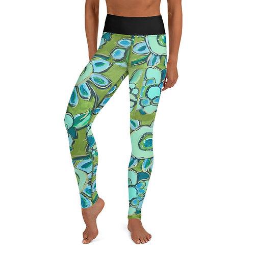 Dance of Turquoise & Sage Yoga  Leggings