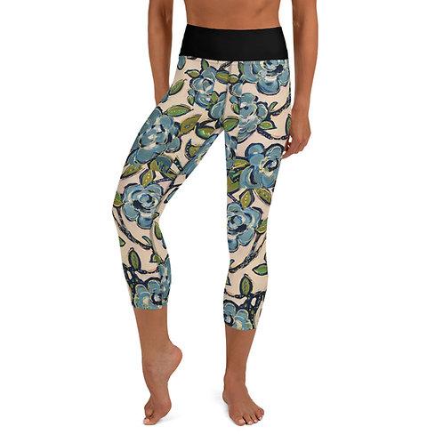 Blue Roses Yoga Capri Leggings