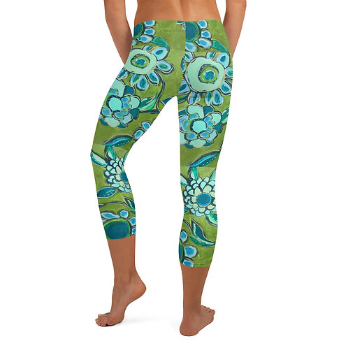 Dance of Turquoise and Sage Simple Capri Leggings