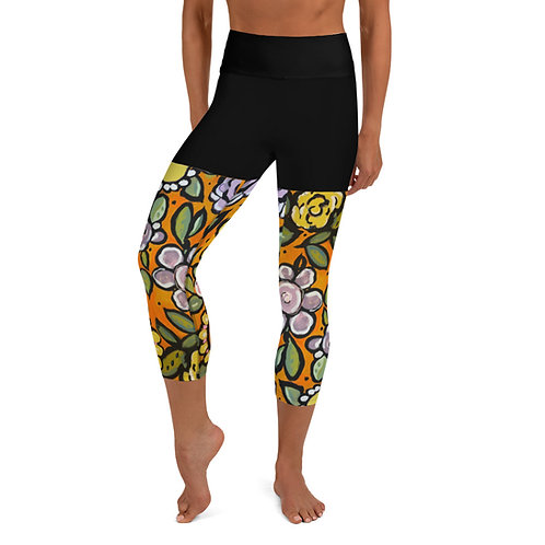 Wall Flowers (w/Faux Shorts )Yoga Capri Leggings