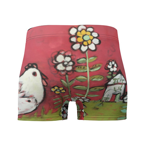 White Bird in a Red Garden Boxer Briefs