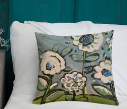 White Flowers on Blue Pillow