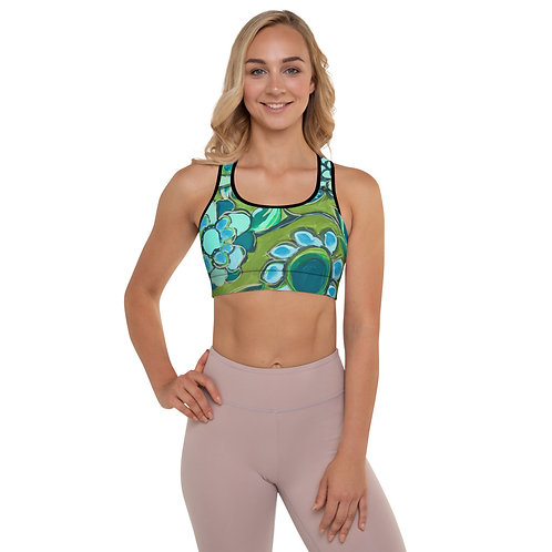 Dance of Turquoise and Sage Sports Bra ( with removable padding)