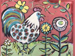 Rooster in Scandinavian Pink Garden