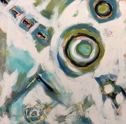 Dance of Turquoise & Sage Abstract