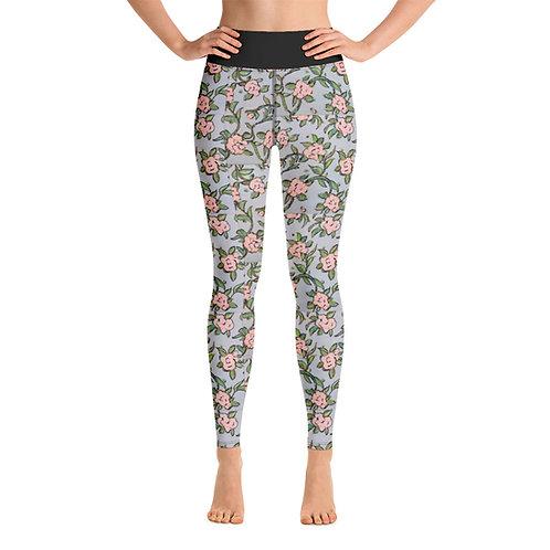 Pink Roses Yoga Leggings