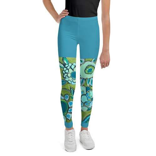 Dance of Turquoise & Sage  Faux Shorts Youth Leggings