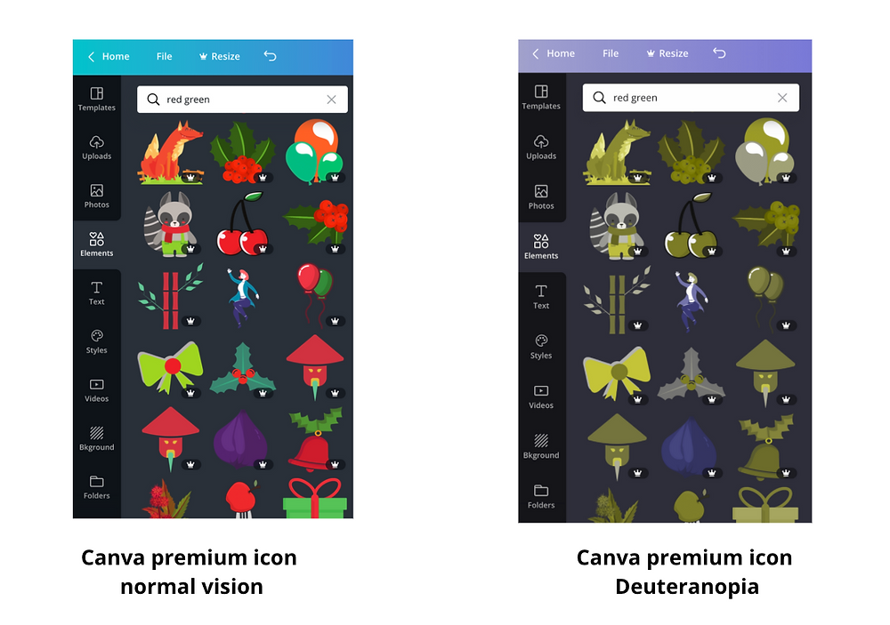 Canva website with deuteranopia vision color blindness example