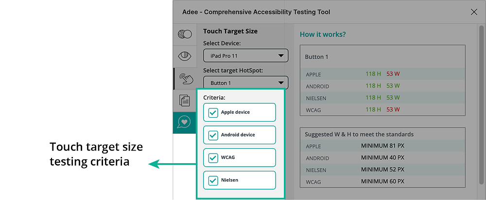 Touch target size testing criteria in Adee app