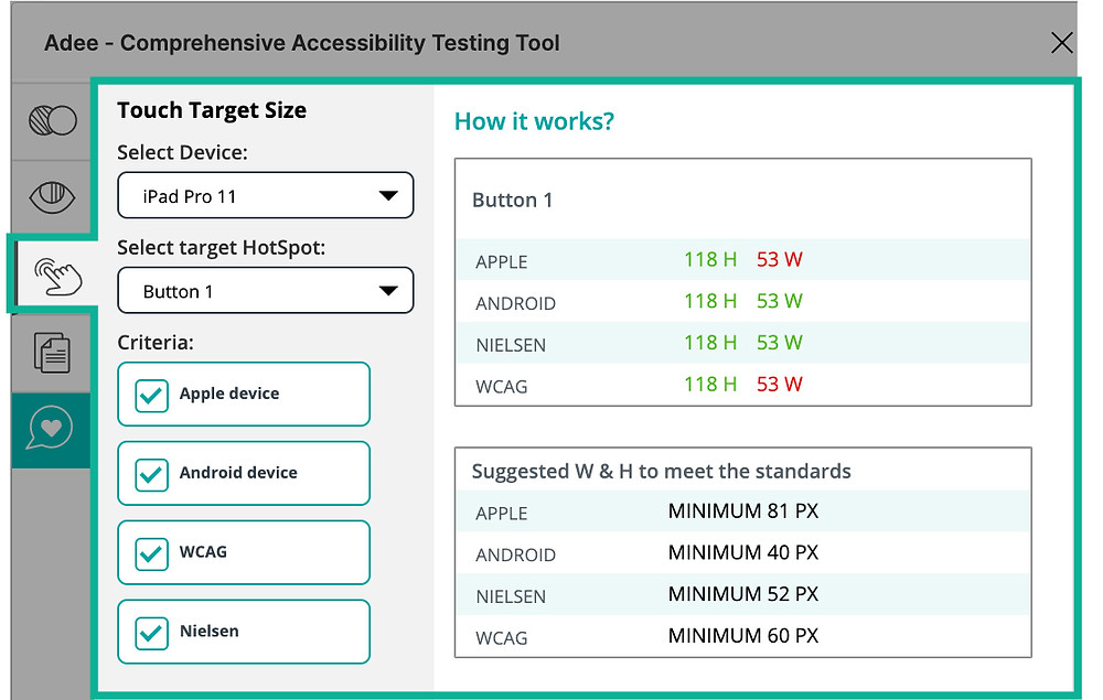 Touch target size tab in Adee