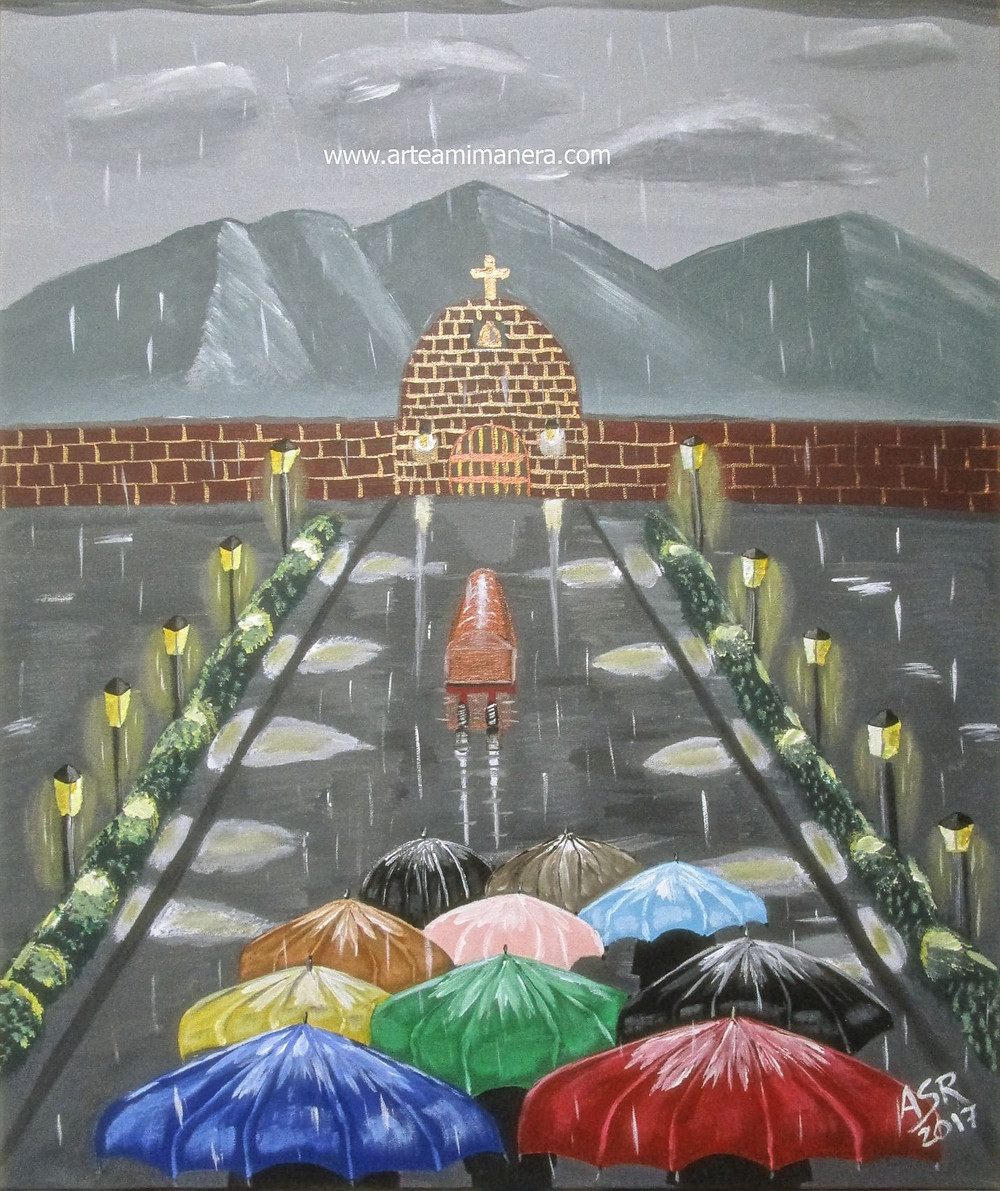 "This is a raining day where a funeral is taking place.  This is an acrylic painting in a 24""x 30"" canvas."