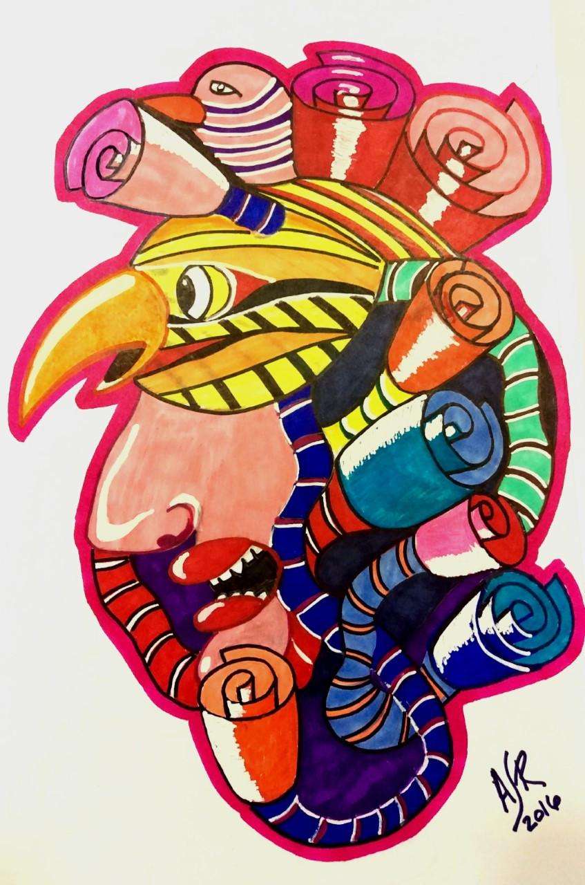 Este arte abstracto es hecho con maradores de colores. Representa a un indio y su vestimenta para adorar a las flores.