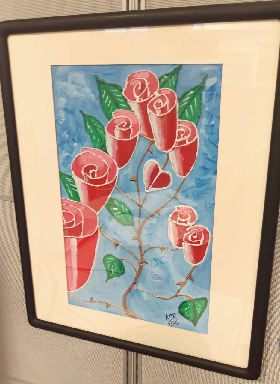 Esta es una pintura en acriílico utilizando silicón caliente. Dedicado a mi madre hermosa Sara.