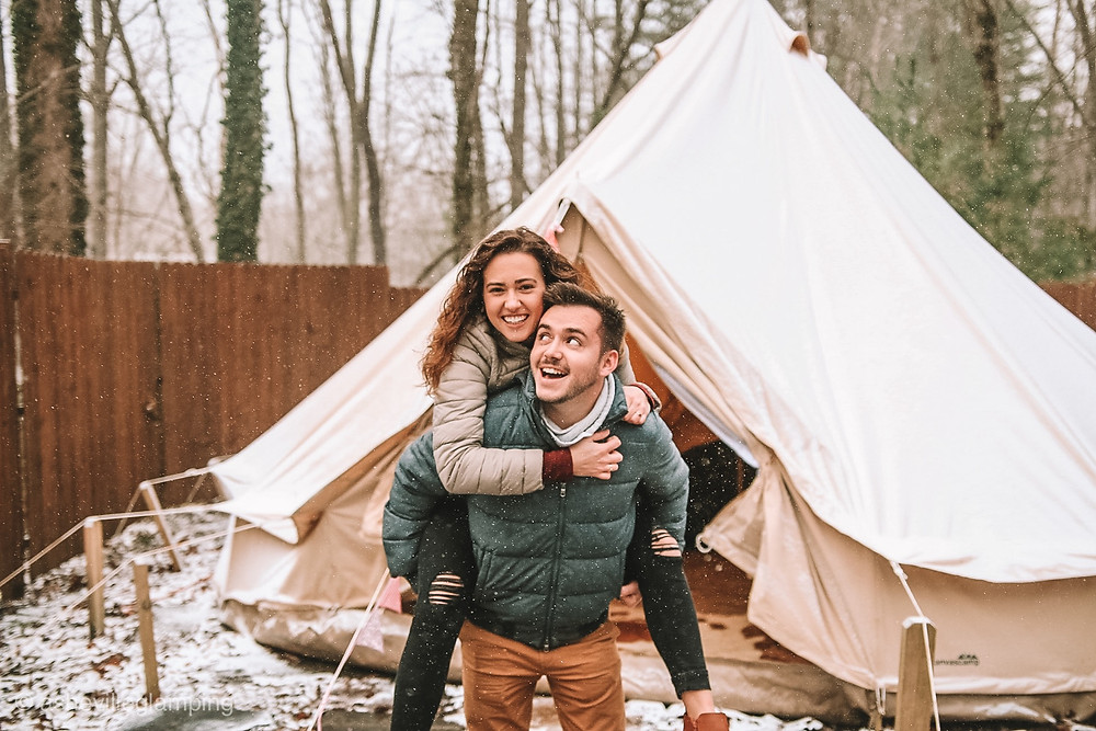 Asheville Glamping Photo shoot Deluxe bell tent