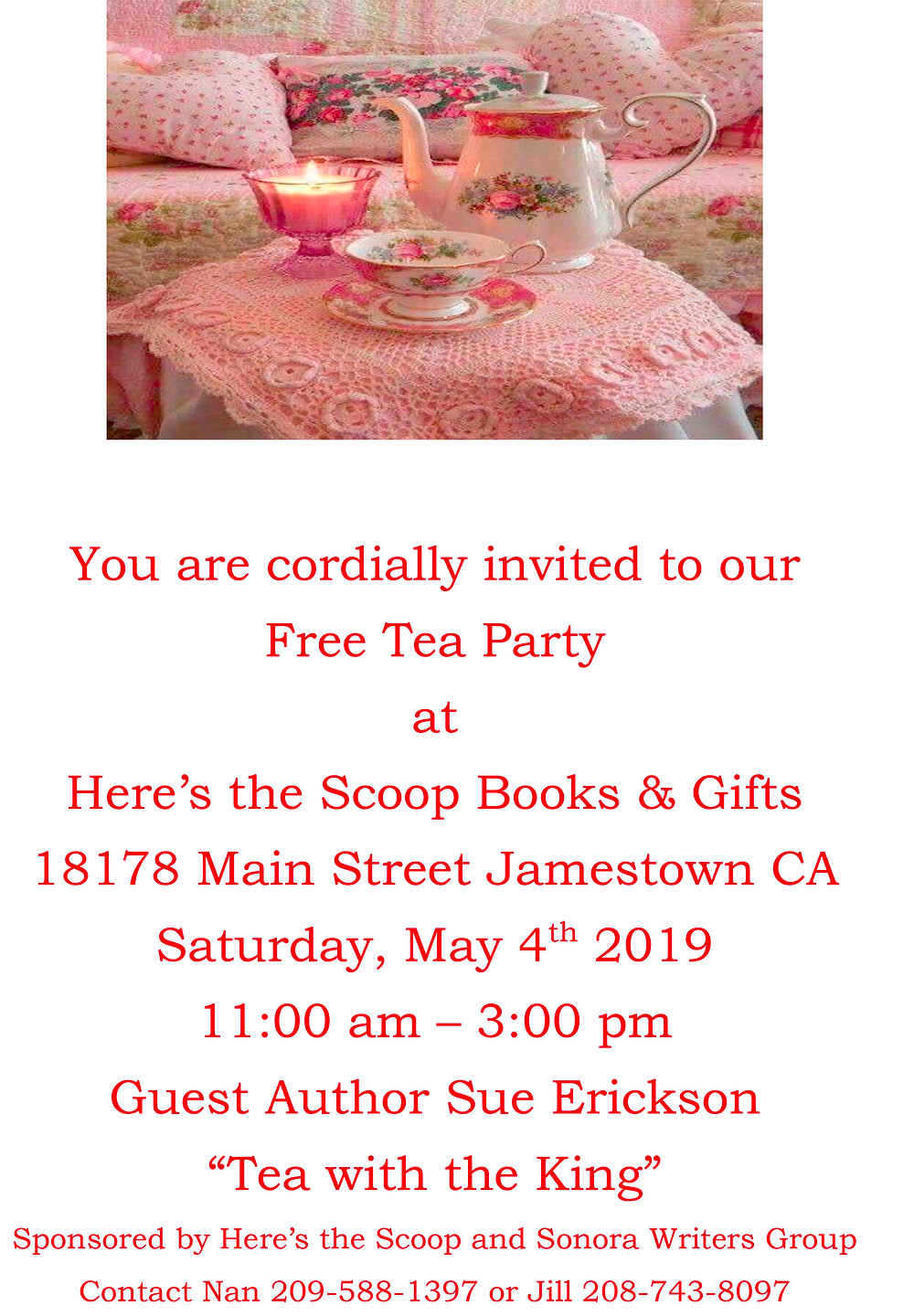 Everyone is invited Tea and deliouc crumpets and chocolate. And the Sonora Writers Group books will be available.