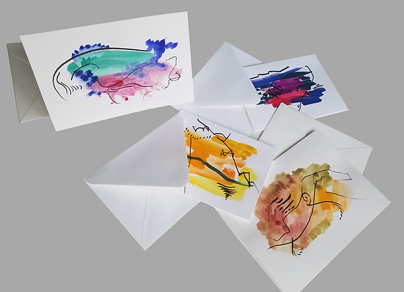 Hand Painted Greeting Cards Pack of 5, large