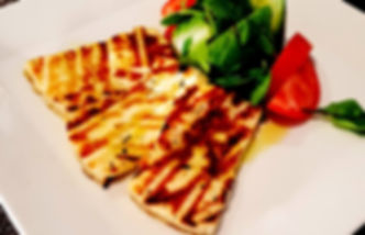 Santorini Sofra´s meze kolgrills halloumi från menyn