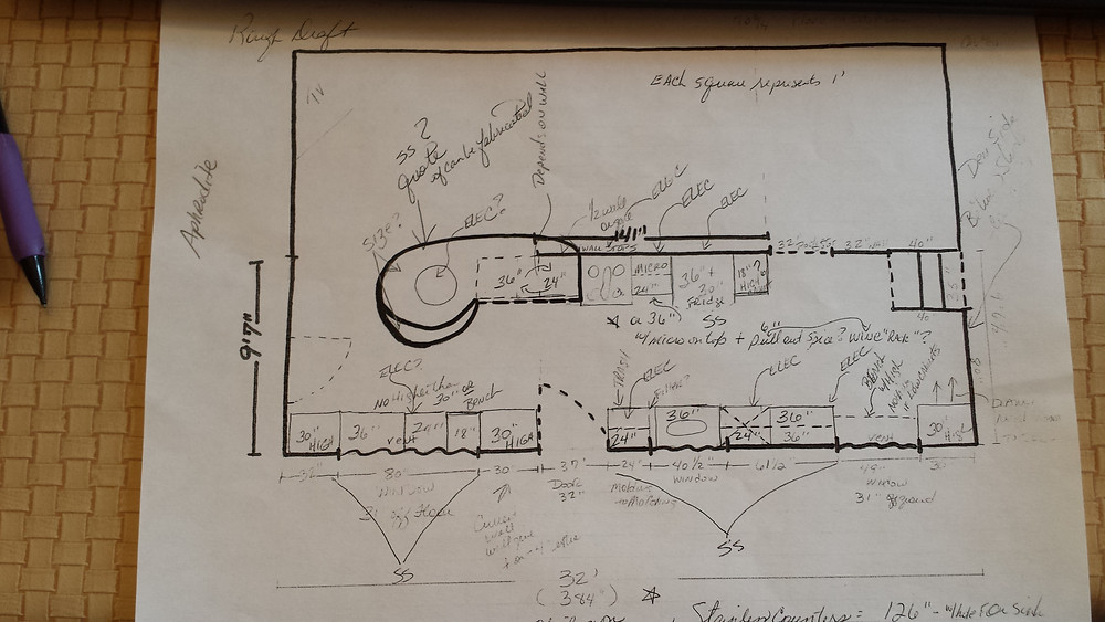 Sketch of the layout of our new kitchen.  We weren't sure at the time if we could get at least a rounded peninsula off the cabinets or what exactly we could do to recreate our beloved open kitchen concept we were leaving at our old house. Copyright 2015 Marla Baxter Sanderson - SockOnARooster.com