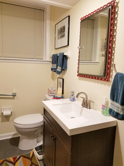 Downstairs laundry room and full guest bathroom combination after update. Copyright 2019 Marla Baxter Sanderson - SockOnARooster.com